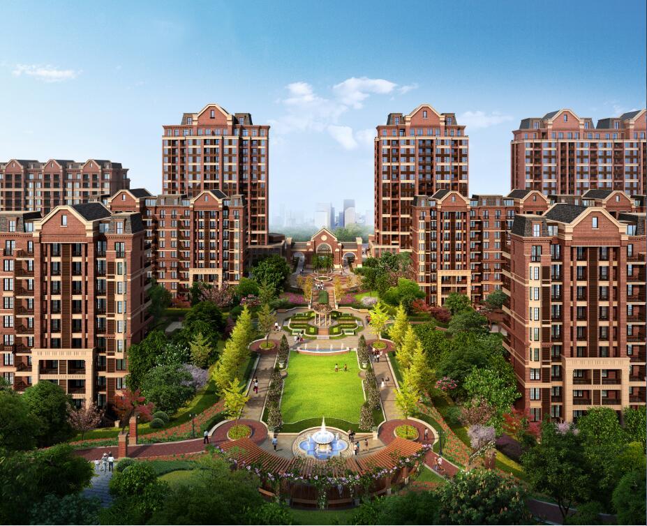 中式高层住宅效果图